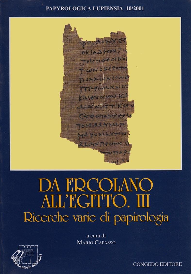 Da Ercolano all'Egitto. III. Ricerche varie di papirologia