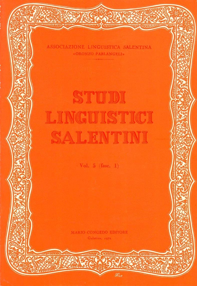 Studi Linguistici Salentini. Vol. 5